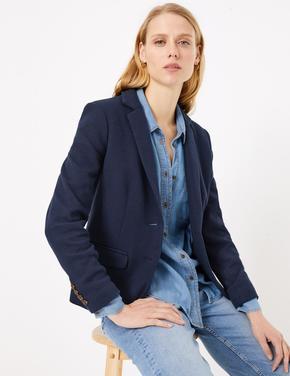 Kadın Lacivert Özel Dokulu Blazer Ceket