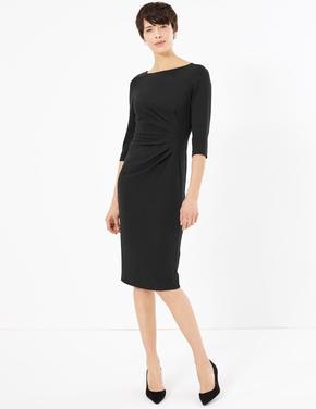 Kadın Siyah Bodycon 3/4 Kollu Elbise