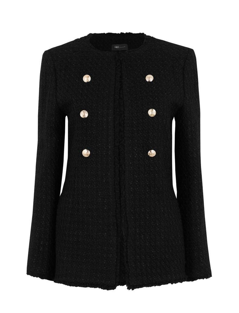 Kadın Siyah Slim Tüvit Blazer Ceket