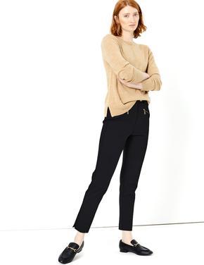 Kadın Siyah Fermuar Detaylı Mia Slim Pantolon