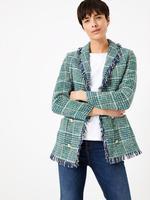 Kadın Yeşil Ekose Tüvit Blazer Ceket