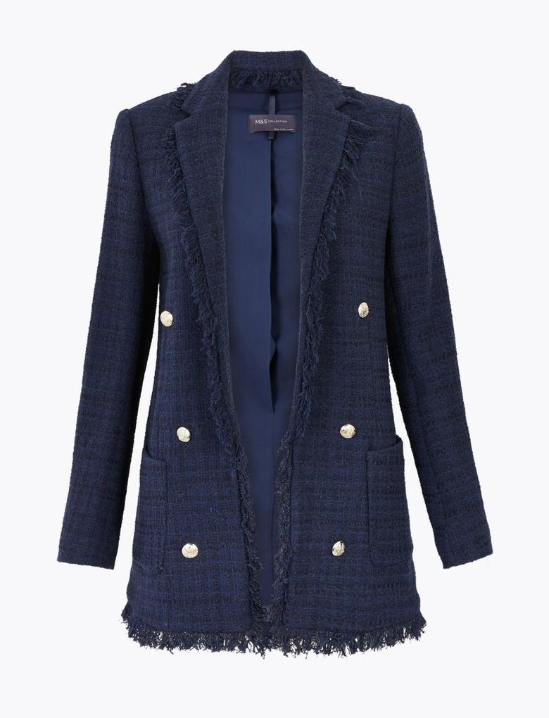 Kadın Lacivert Tüvit Blazer Ceket