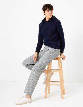 Kadın Yeşil Çizgili Freya Straight Pantolon