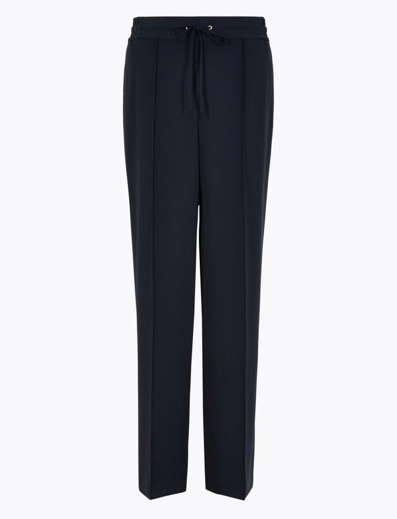 Kadın Lacivert Bağcıklı Wide Leg Pantolon