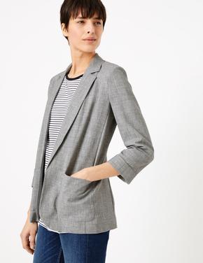 Kadın Gri Önü Açık Cepli Blazer Ceket