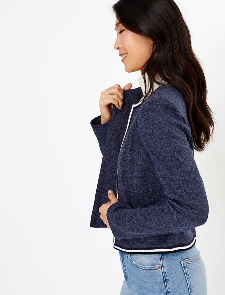 Kadın Lacivert Jarse Slim fit Blazer Ceket