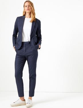 Kadın Mavi Tek Düğmeli Denim Blazer Ceket