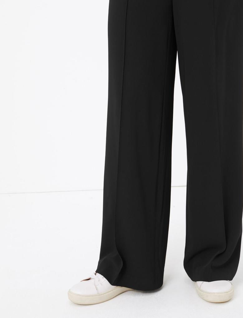 Kadın Siyah Bağcıklı Wide Leg Pantolon