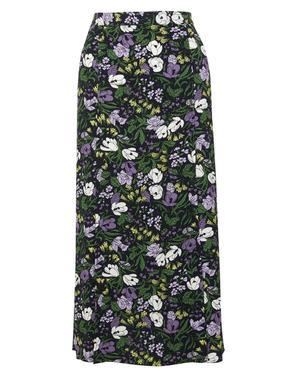 Kadın Multi Renk Çiçek Desenli Midi Etek