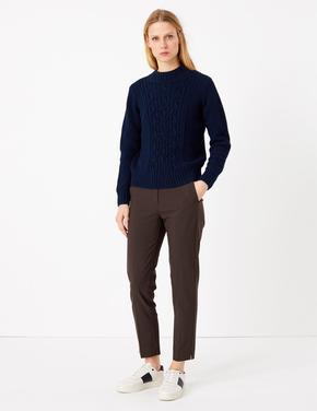 Kadın Kahverengi Kareli Mia Slim Fit Pantolon