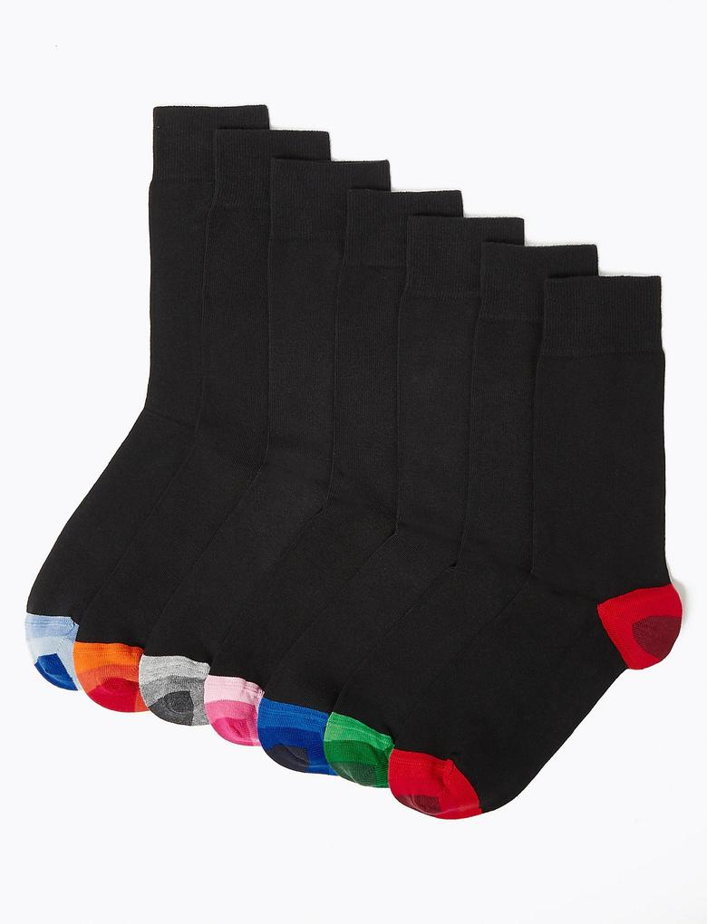 Erkek Siyah 7'li Cool & Fresh™ Renkli Topuklu Çorap Seti