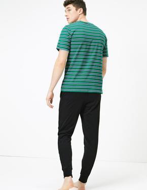Erkek Yeşil Çizgili Saf Pamuklu Pijama Takımı