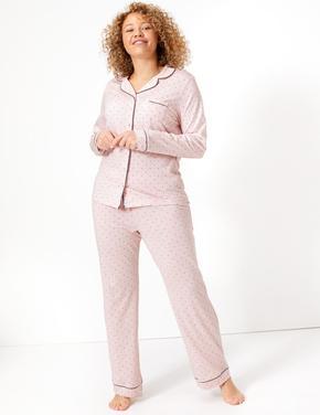 Kadın Pembe Cool Comfort™ Puantiyeli Pijama Takımı