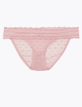 Kadın Pembe Puantiyeli Bikini Külot