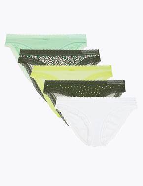Kadın Yeşil 5'li Dantel Detaylı Bikini Külot Seti
