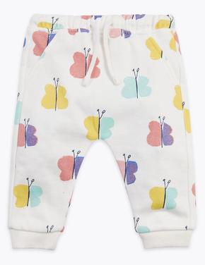 Bebek Beyaz Kelebek Desenli Eşofman Altı