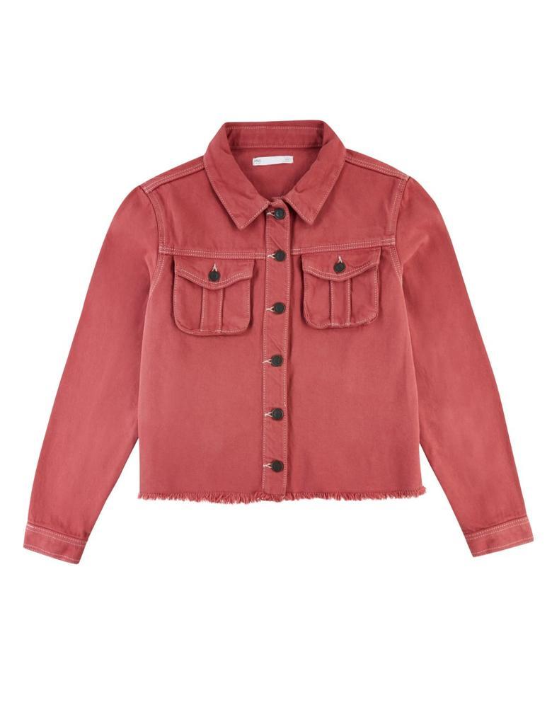 Kız Çocuk Bordo Pamuklu Denim Ceket