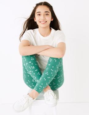 Kız Çocuk Yeşil Çiçek Desenli Tayt