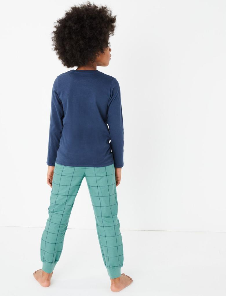 Çocuk Yeşil 2'li Desenli Pijama Seti