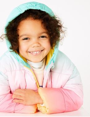 Kız Çocuk Multi Renk Ombre Desenli Dolgulu Mont