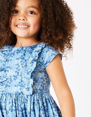 Kız Çocuk Mavi Çiçek Desenli Fırfırlı Elbise