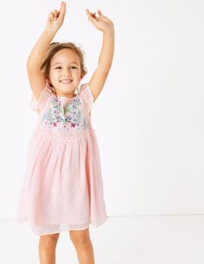 Kız Çocuk Pembe Çiçek İşlemeli Şifon Elbise