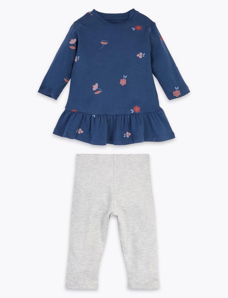 Bebek Lacivert Çiçek Desenli Üst ve Alt Takımı