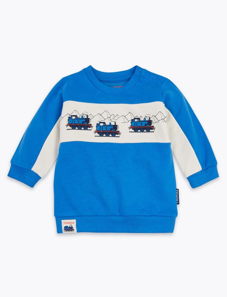 Bebek Mavi Thomas & Friends™ Desenli Sweatshirt