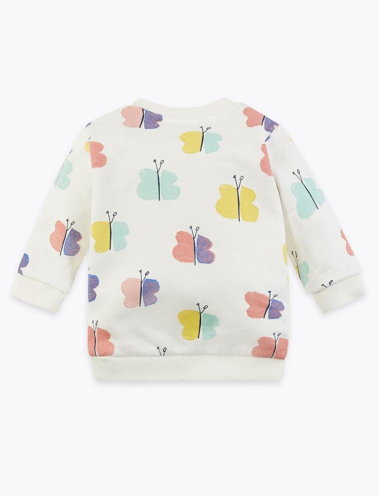 Bebek Beyaz Kelebek Desenli Sweatshirt