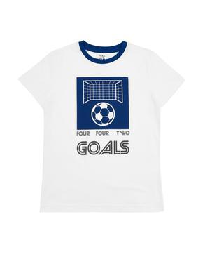 Erkek Çocuk Beyaz Desenli Kısa Kollu T-Shirt