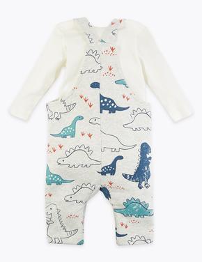 Bebek Gri Dinozor Desenli Tulum ve Body Takımı