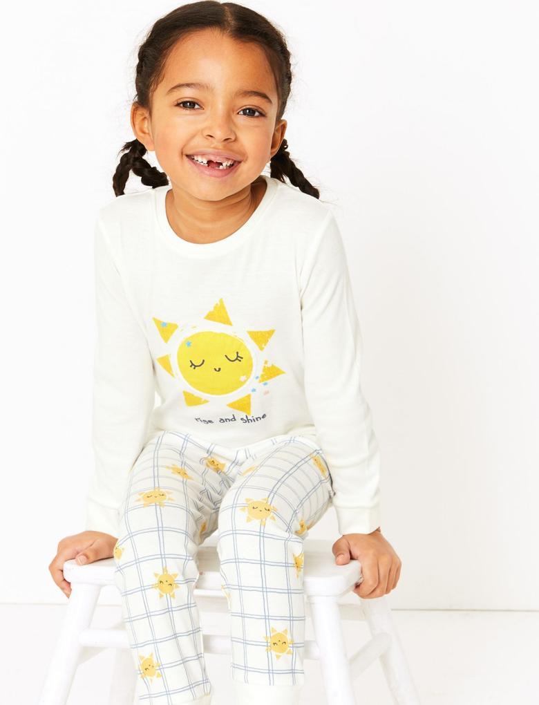 Çocuk Pembe 2'li Desenli Pijama Seti