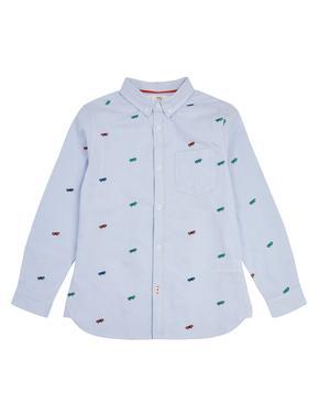 Erkek Çocuk Mavi Kaykay İşlemeli Oxford Gömlek