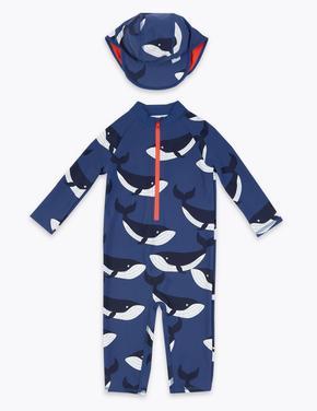 Erkek Çocuk Mavi Balina Desenli Tulum