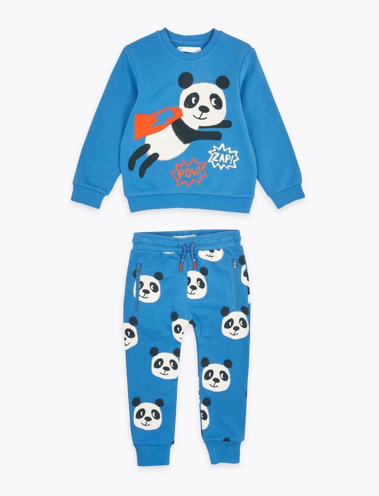 Erkek Çocuk Multi Renk Panda Desenli Üst ve Alt Takım