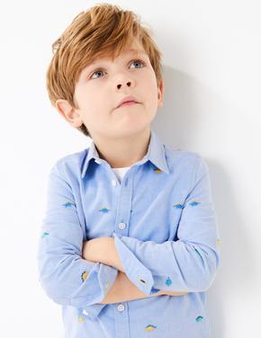 Erkek Çocuk Mavi Dinozor İşlemeli Gömlek