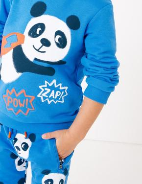 Multi Renk Panda Desenli Üst ve Alt Takım