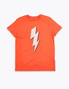 Erkek Çocuk Turuncu Yıldırım Desenli T-Shirt