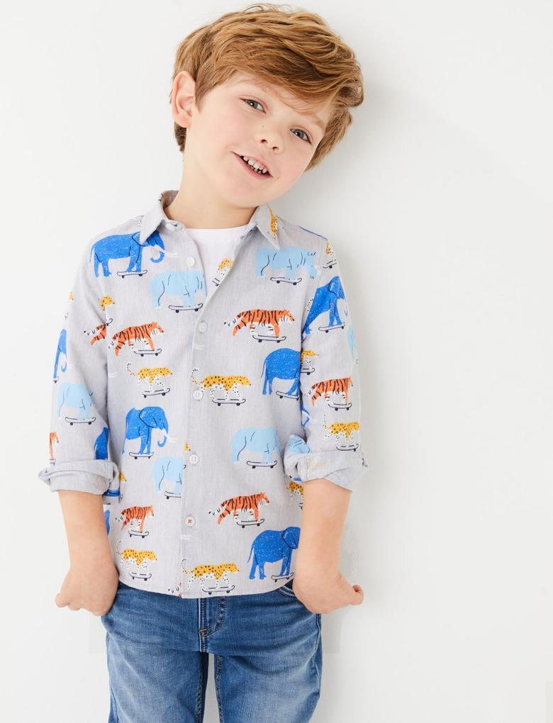 Erkek Çocuk Gri Desenli Gömlek