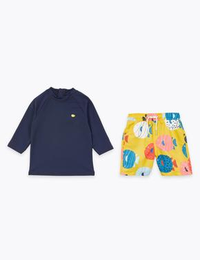 Erkek Çocuk Multi Renk Balık Desenli Üst ve Alt Takımı