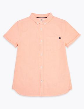 Erkek Çocuk Turuncu Kısa Kollu Oxford Gömlek