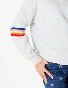 Kız Çocuk Gri Gökkuşağı Desenli Kapüşonlu Sweatshirt