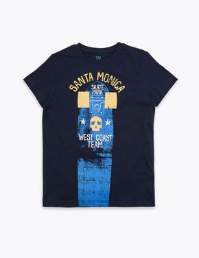 Erkek Çocuk Lacivert Sloganlı Kısa Kollu T-Shirt