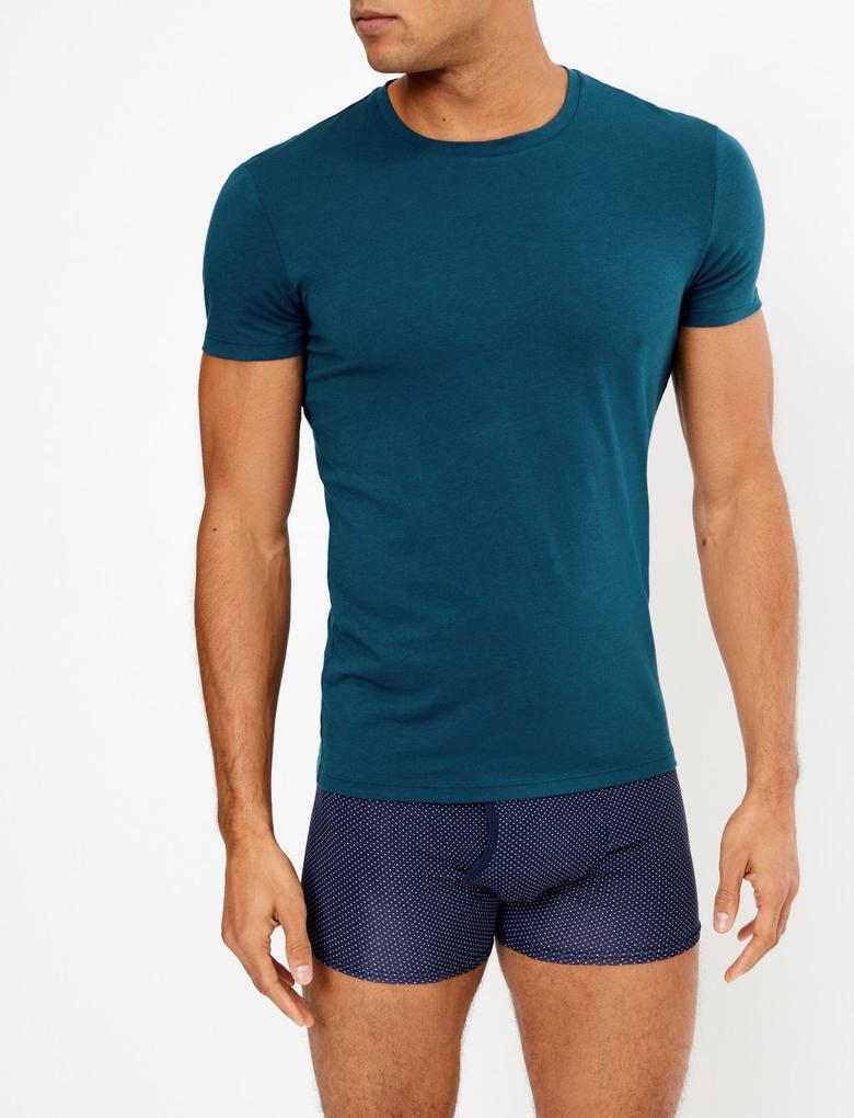 Erkek Mavi Luxury Supima® Supersoft Pamuk Karışımlı Atlet