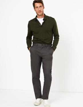 Erkek Gri Regular Fit Chino Pantolon
