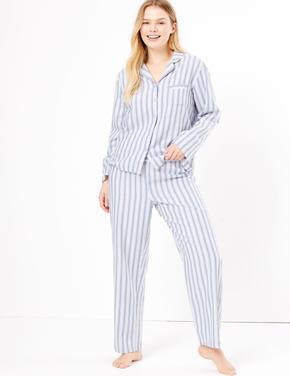 Kadın Mavi Saf Pamuklu Çizgili Pijama Takımı