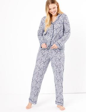 Kadın Mavi Cool Comfort™ Çiçek Desenli Pijama Takımı