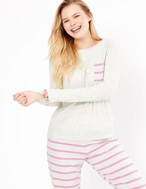 Kadın Mor Çizgili Pijama Takımı