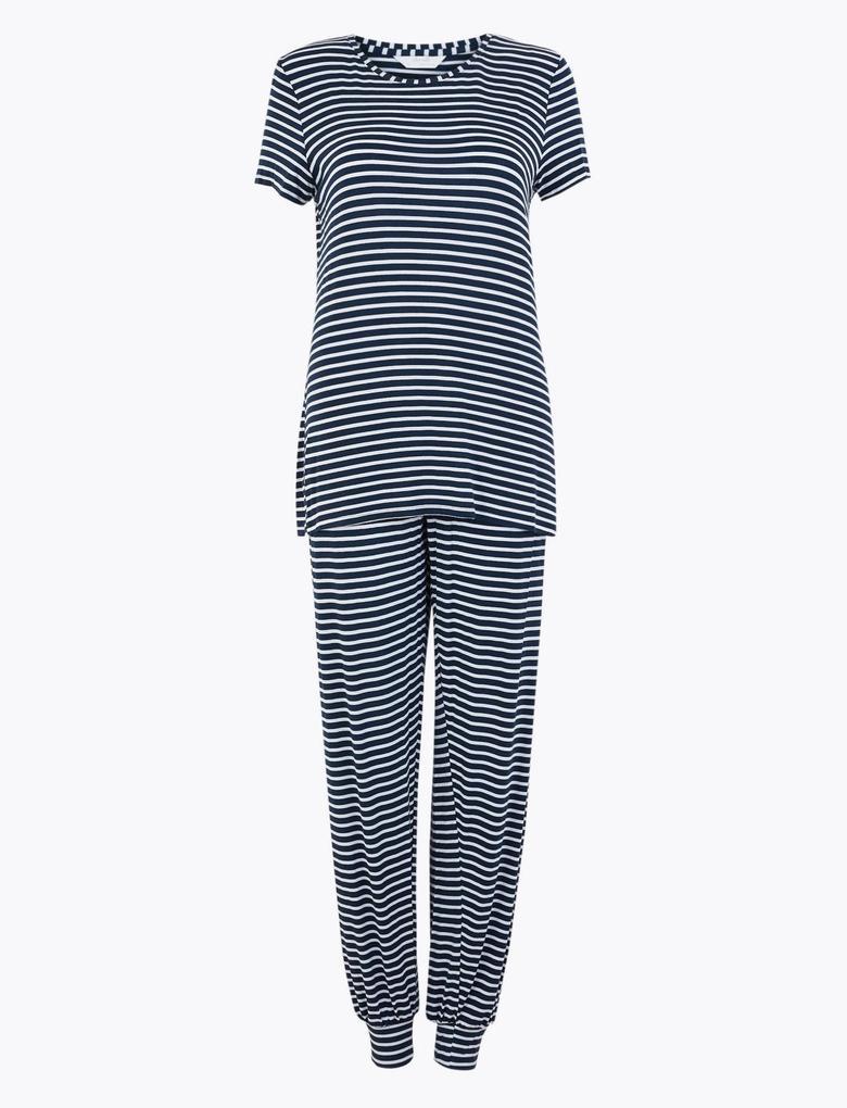 Kadın Lacivert Çizgili Pijama Takımı