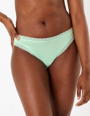 Kadın Yeşil 5'li Desenli High Leg Külot Seti